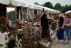 Visitors to an antiques fair