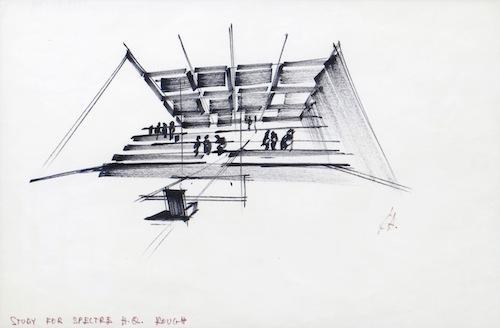 Ken Adams sketch for the original Spectre headquarters