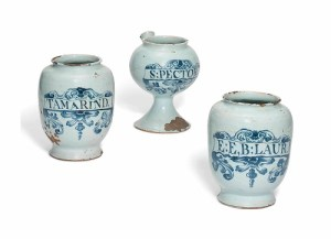 A collection of Delft drug jars