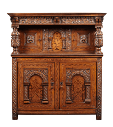 Antique Elizabethan inlaid cupboard www.antique-collecting.co.uk