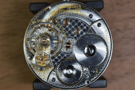 Mechanical watch movement in a vintage watch