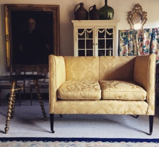 A chintz covered antique sofa