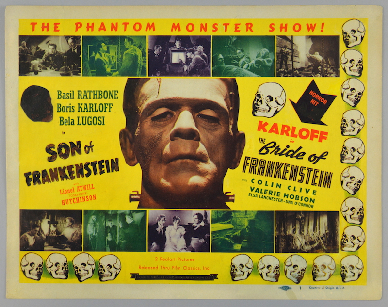 A US double-bill lobby card promoting 1940s films Son of Frankenstein and Bride of Frankenstein