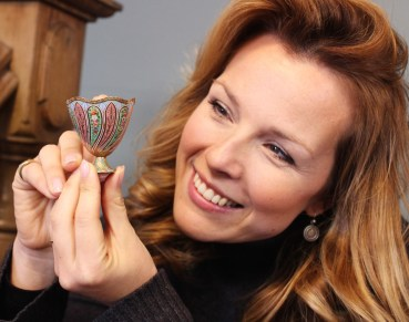 Christina Trevanion with antique zarf cup