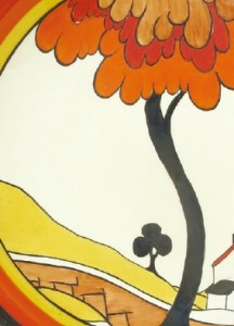 A detail of a design by Clarice Cliff