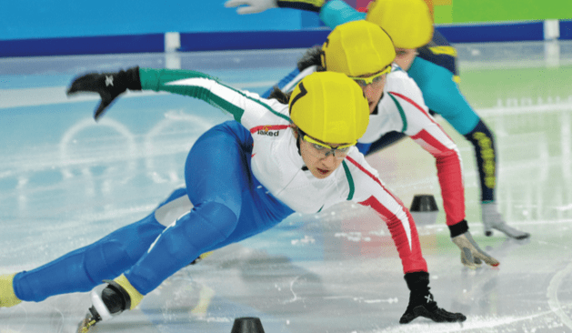 Speed skaters at the Innsbruck Winter Olympics