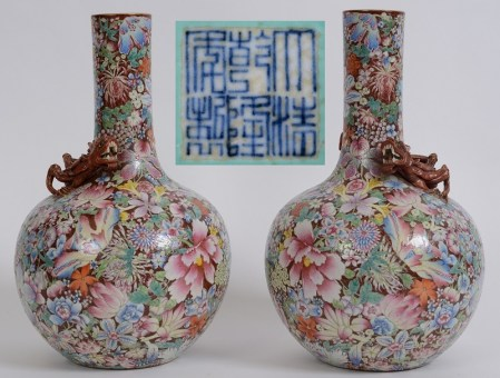 The pair of antique Chinese Millefleurs vases