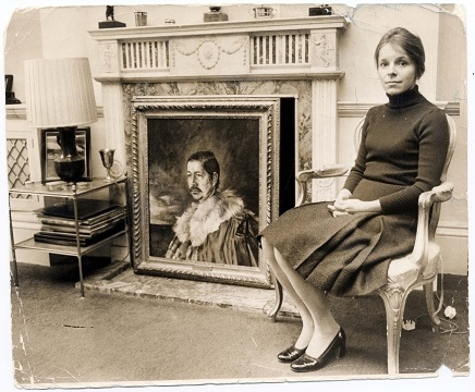 Lady Lucan with portrait of Lord Lucan