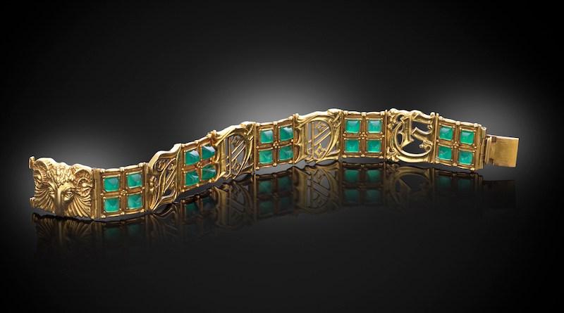 A gold bracelet by Omar Ramsden