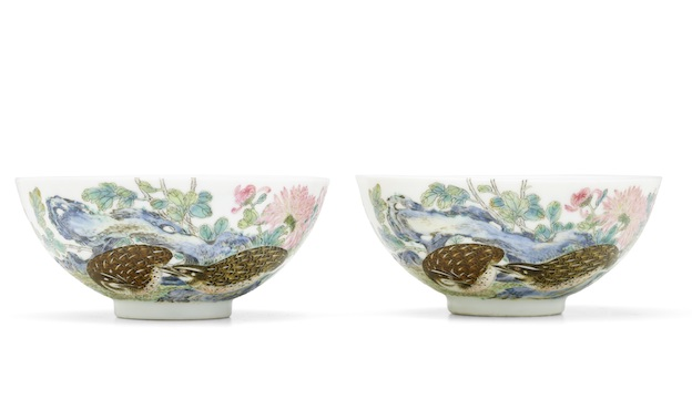 The pair of Yongzheng quail bowls to be sold in New York