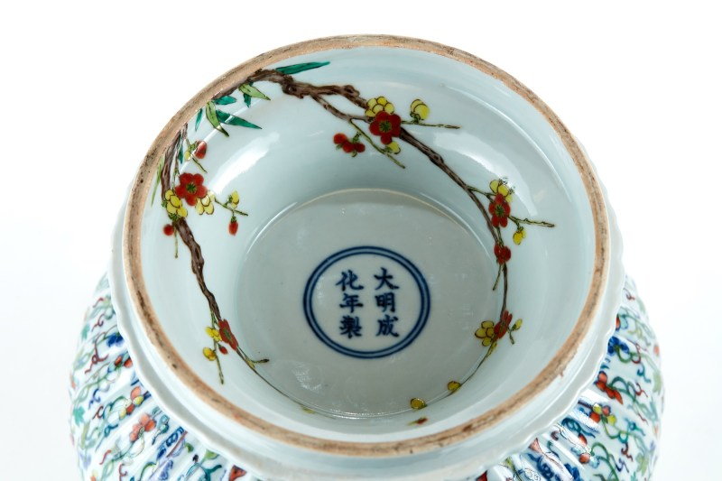 The base of the Chinese Doucai vase that sold for £200,000 in Suffolk