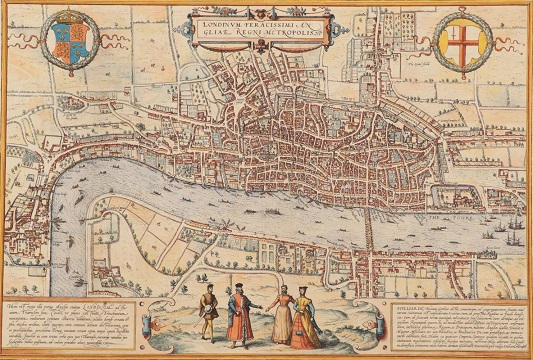 An early map of London in the North Yorkshire sale