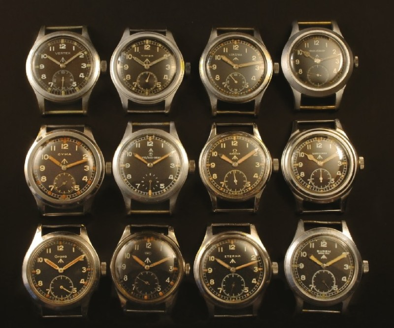 A complete set of Dirty Dozen military watches