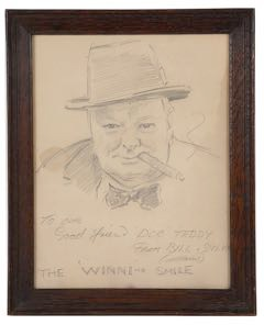 A drawing of Winston Churchill