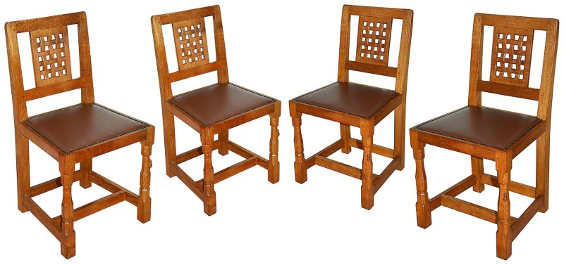 Set of Robert 'Mouseman' Thompson chairs