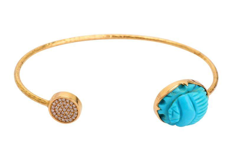 turquoise scarab and diamond bangle