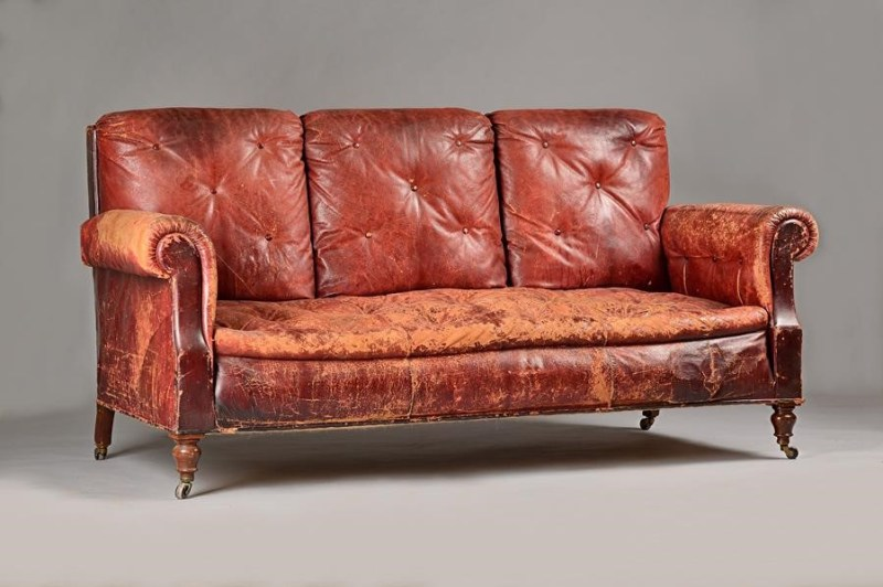 Antique French leather sofa