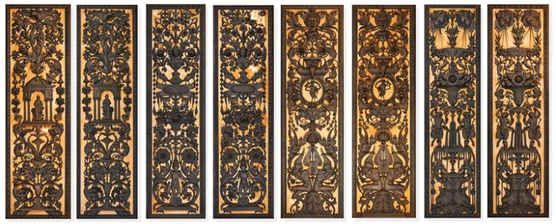 Bronze and wood panels from Sir William Whitfield Collection
