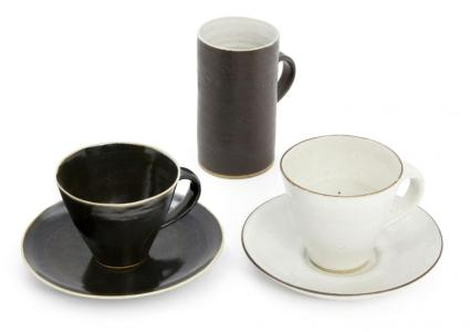 Dame Lucie Rie stoneware cups and saucers