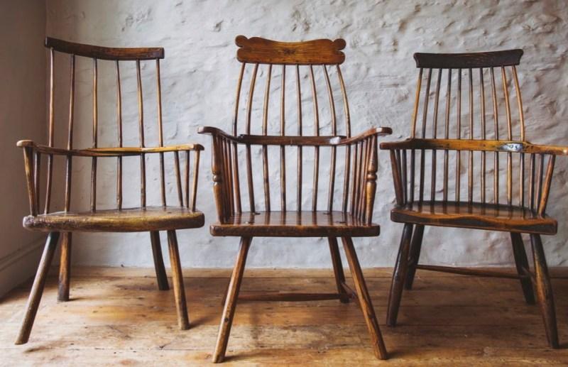 Three Welsh stick chairs