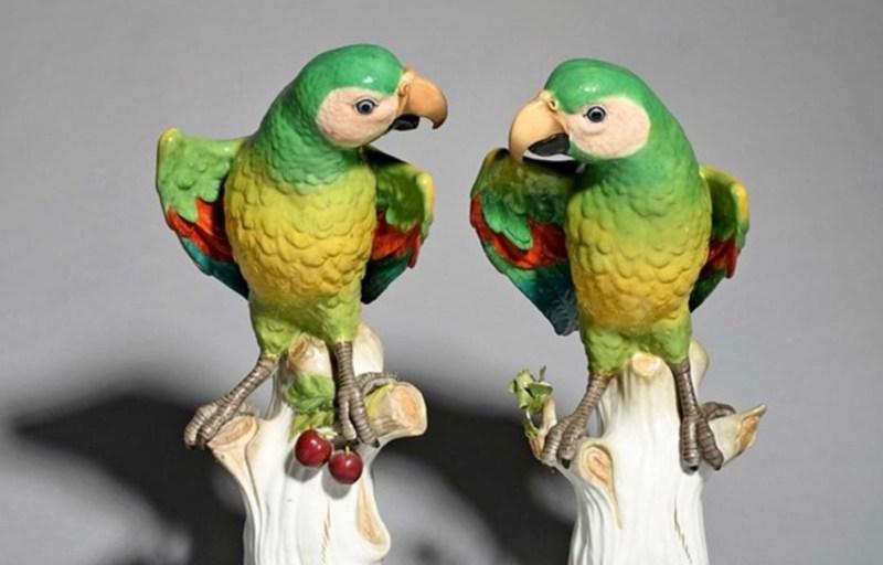 A pair of Meissen parrots