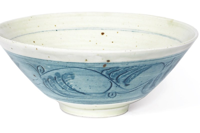 Leach Pottery, a sgraffito, celadon footed porcelain bowl