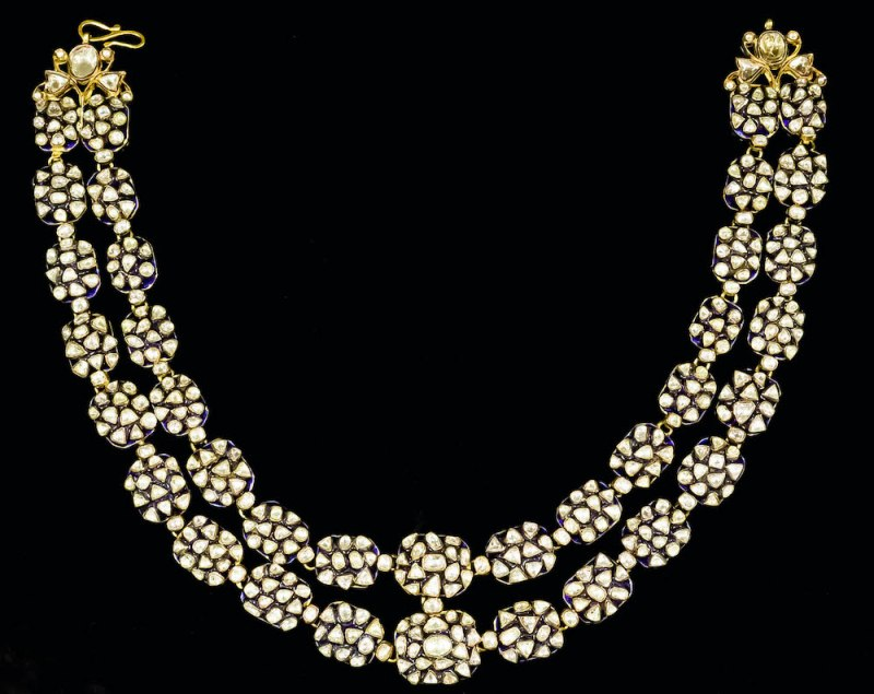 two-strand necklace of rarely seen lasque-cut diamonds
