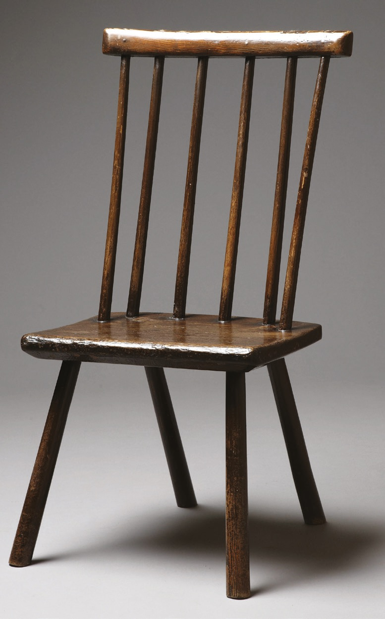 A small, simple 18th/early 19th-century Welsh stick chair or back stool