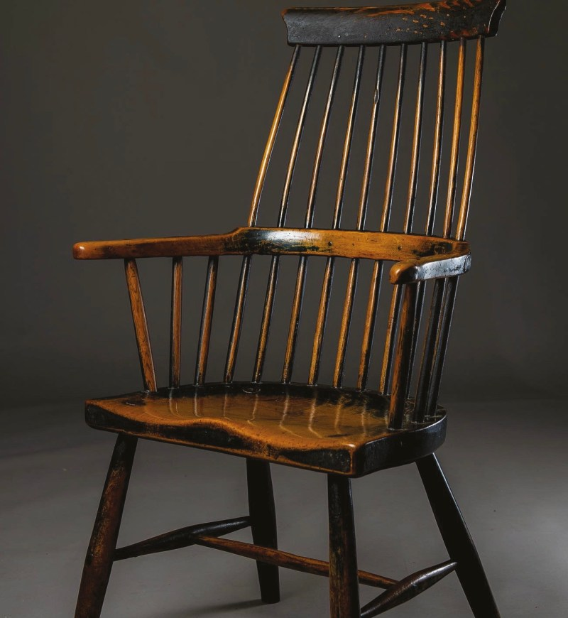 A magnificent late 18th-century Welsh 'comb-back' stick chair made from sycamore and ash with wonderful original finish. Upper Towy Valley, Carmarthenshire