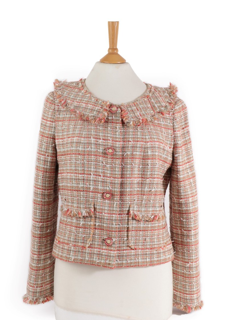 Vintage Chanel peach and cream jacket