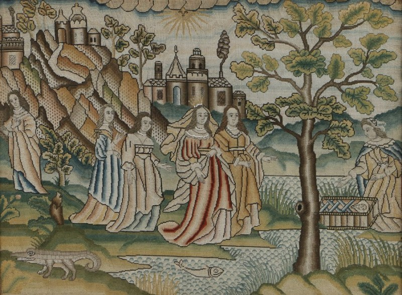 mid 17th-century needlework with the discovery of Moses in the Bulrushes