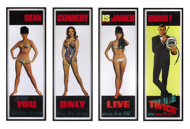 You Only Live Twice, Set of 4 door panels, US, 1967, Paper backed on linen