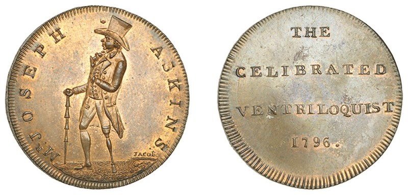 An 18th-century token depicting a man with wooden leg