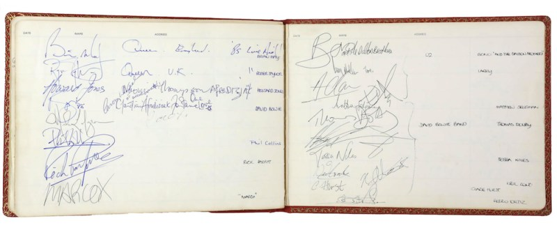 Autographs from David Bowie, Bono and Queen in Battersea Heliport Visitors album