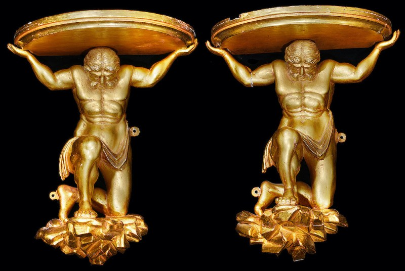 Pair of 19th century carved giltwood figural wall brackets