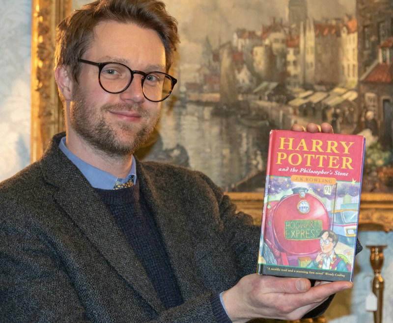 Hansons' Jim Spencer with the Harry Potter first edition