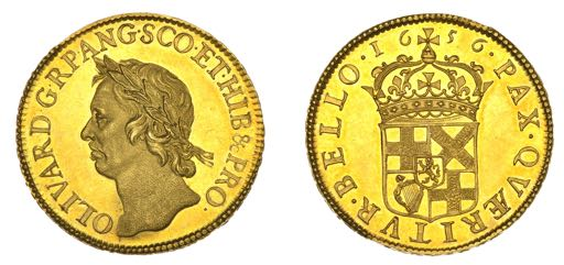 Oliver Cromwell 50 shilling gold coin