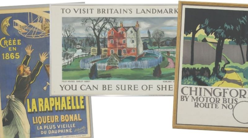 Selection of vintage travel posters in Sworders sale