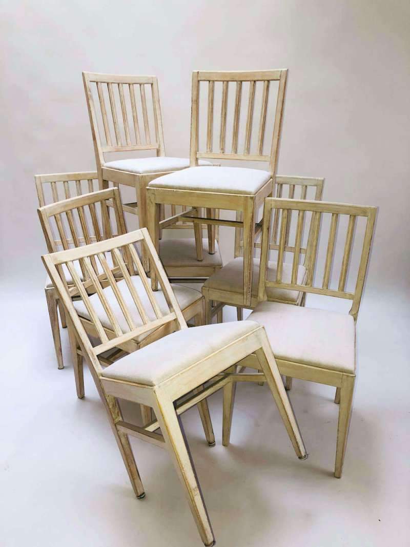 Set of 20th-century Swedish slat back chairs