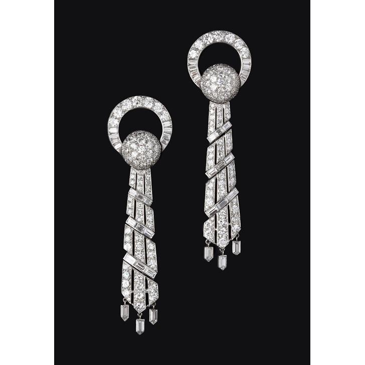 A pair of Cartier diamond earrings