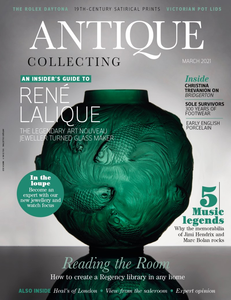 Front cover of the March issue of Antique Collecting magazine