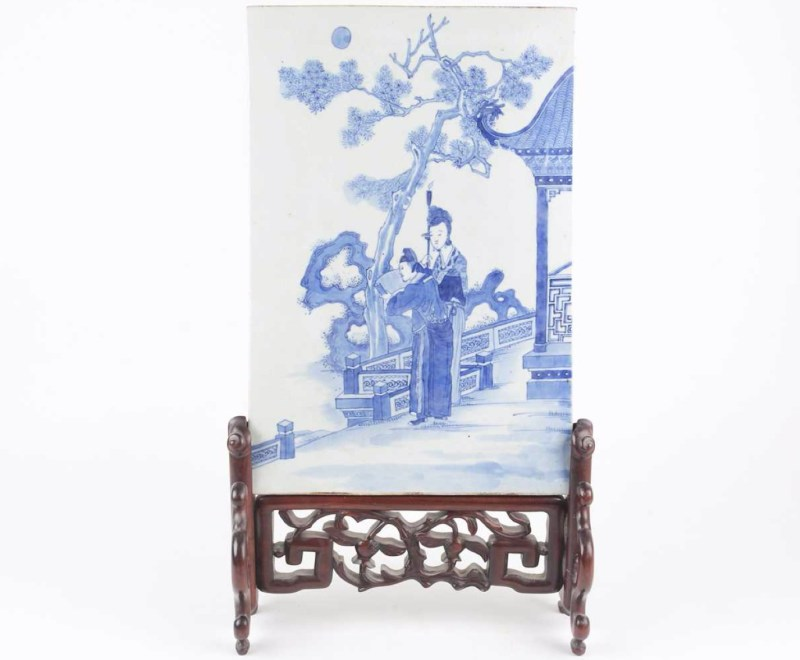 A Chinese blue & white porcelain table screen, Qing, 19th century. Estimate: £300 - £500