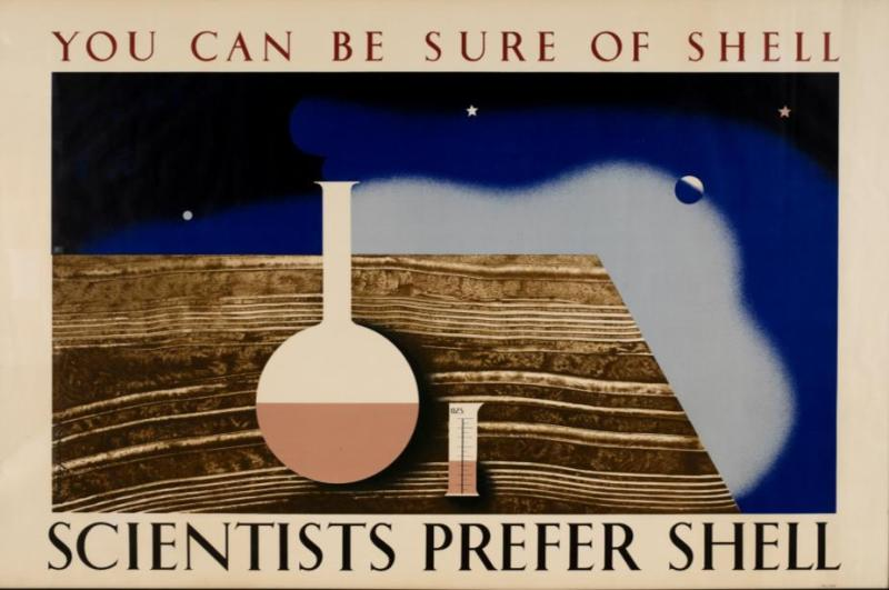 Tom Eckersley (1914-1997) and Eric Lombers (1914-1978) - Scientists Prefer Shell, lithograph