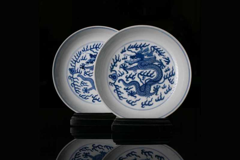 Two Chinese blue and white dragon dishes