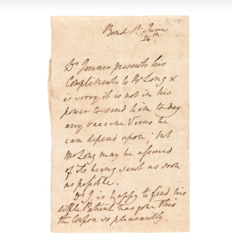 An autograph letter from Edward Jenner