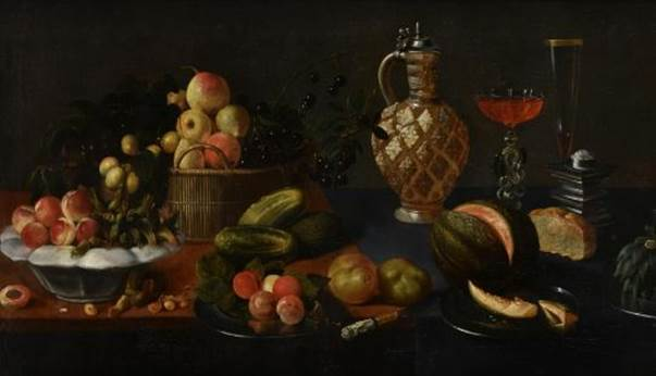 A basket, dish and plates of fruit on a table-top with a jug, glasses of wine by Juan van der Hamen y León (1596 – 1632). Estimate £15,000-£25,000
