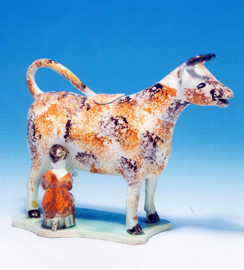 Antique Yorkshire pottery prattware cow creamer