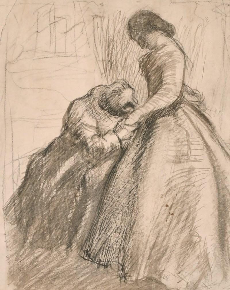 Sir John Everett Millais pencil sketch of two figures