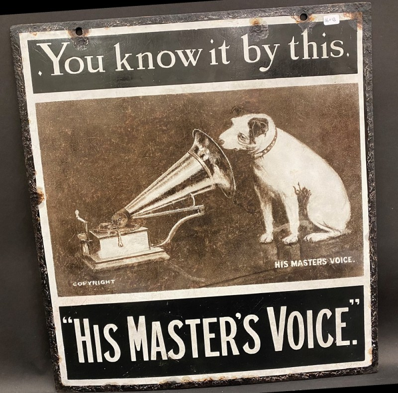 Enamel advertising sign for His Master's Voice