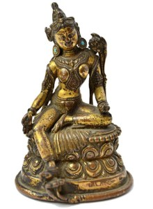 16th century Tibetan gilt bronze figure of Green Tara